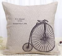 Generic Claybox Decorative 18 x 18 Inch Linen Cloth Pillow Cover Cushion Case, Penny-Farthing Bicycle from Generic