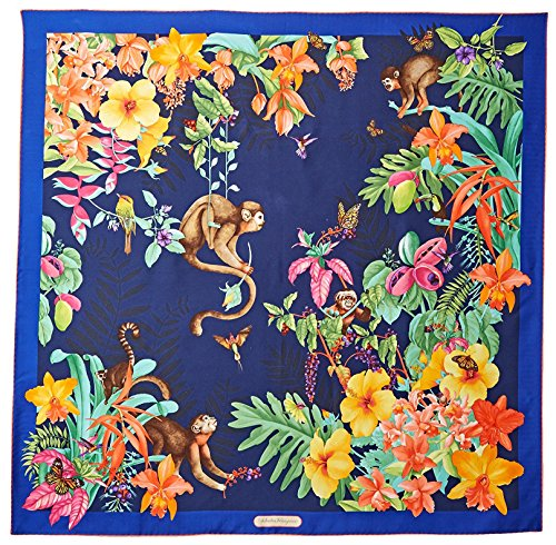 Salvatore-Ferragamo-Womens-Patterned-Silk-Scarf-Marine