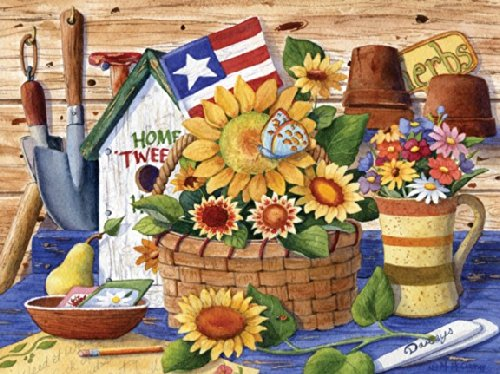 Puzzle Collector Art 500 Piece Puzzle - Sunflowers And Flag