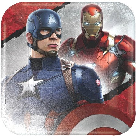 Captain America 3 Civil War Party 9 inch Square Paper Dinner Plates (8 count)