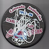 Scott Young autographed puck Colorado Avalanche 1996 Stanley Cup Champions
