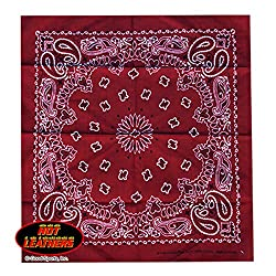 """Hot Leathers Bikers Bandanas Collection Original Design, 21"""" x 21"""" - BANDANA BURGUNDY PAISLEY DESIGN by Officially Licensed & Trademarked Products"""