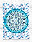 """Mandala Blue Tapestry Wall Hanging Art Prints Blue - 40""""wx60""""l - Living Room / Bedroom / Dorm Decor - One of a Kind - Machine Washable - Shiny Silky Saten"""