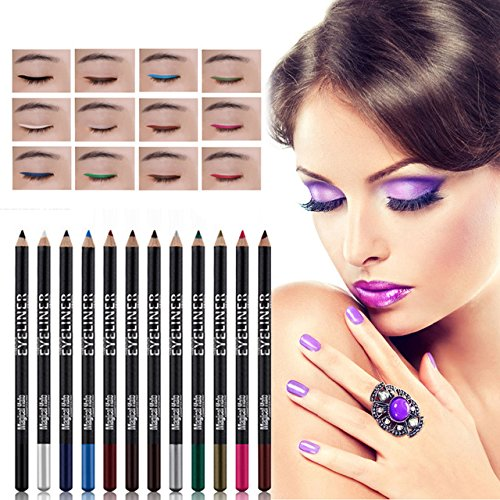12 color eyeshadow eyeliner pen is not blooming 12 pcs per set silkworm pen fashion new style (Bh Cosmetics 12 Piece Brush Set compare prices)
