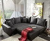 Couch Lavello Grau Schwarz 210x210 cm Hocker Ottomane Rechts Ecksofa