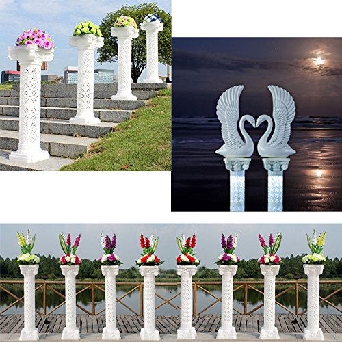 Adorox Decorative Plastic Wedding Event Column Adjustable Height and Holds Flower Plate (40