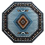 Native American Octagon Area Rug Design Kingdom D 143 Blue Brown (4 Feet X 4 Feet) Octagon
