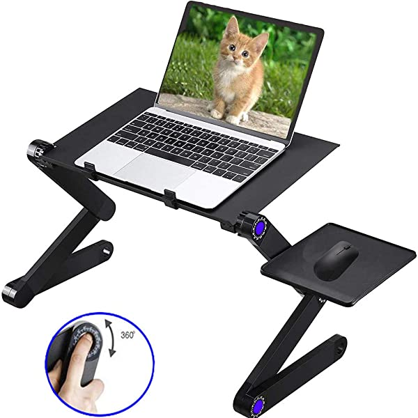 Adjustable Laptop Table Stand for Bed Sofa All Aluminium Alloy Standing Office Ergonomic Office Lap Desk Portable Lightweight Compatible Notebook Tablets with Adjustable Mouse Pad (Color: All Aluminium Alloy With 16.5x10in Panel)