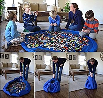 NEWSTYLE Children's Play Mat and Toys Storage Bag - 60inch Kids Playbag Toys Organizer Quick Pouch. Great for Storing Small and Medium Size Toy like LEGOS - Simple, Portable, Sturdy! by Easy Style