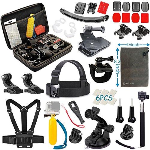 Vanwalk Kit de 16 accessoires pour caméra embarquée GoPro ou SJCAM Boîte de transport incluse