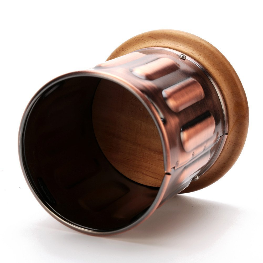 3E Home Manual Canister Stainless steel Burr Coffee Mill Grinder, Stainless Steel Top, and Antique Copper Body 3