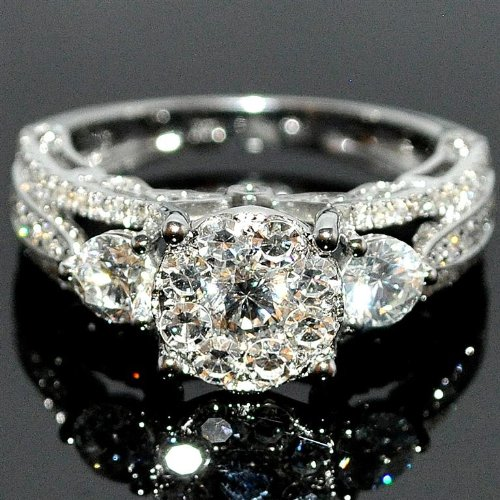 Bridal 3 Stone Style Vintage 2ctw Diamond Engagement
