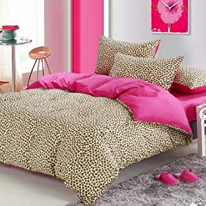 Pink cheetah print bedding leopard print duvet cover set full home kitchen - Cheetah bedspreads ...