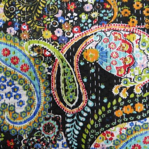 Diseñador Negro algodón acolchado Kantha Floral Print Gudri Twin Size Colcha India 88