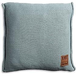 Knit Factory 1131209 Dekokissen Strickkissen Uni mit Füllung, 50 x 50 cm, stone grün