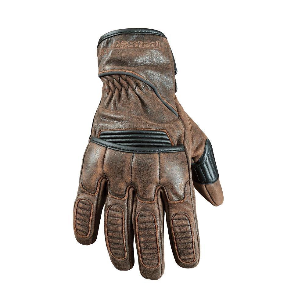 STREET & STEEL Scrambler Leather Motorcycle Gloves - LG, Brown 0