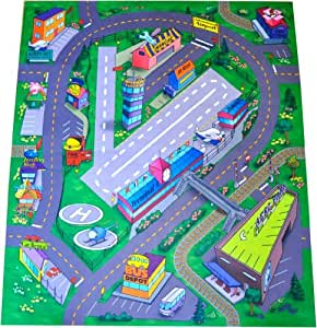 Silli Me Silli Me Airport Felt Play Mat With Roads And Train Track Design