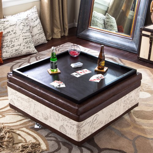Ottoman Coffee Table With Sliding Wood Top: Corbett Leather And Linen Coffee Table Storage Ottoman