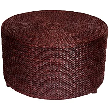 Oriental Furniture Rush Grass Coffee Table/Ottoman - Red Brown by ORIENTAL FURNITURE