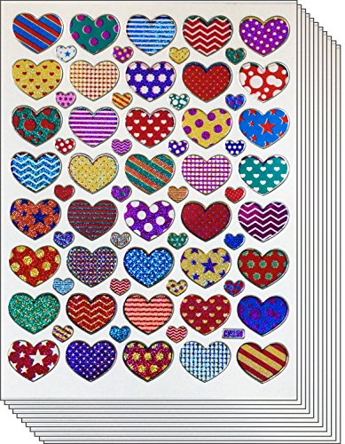 Jazzstick Colorful Valentine Heart Decorative Sticker 10 sheets (VST01A18)