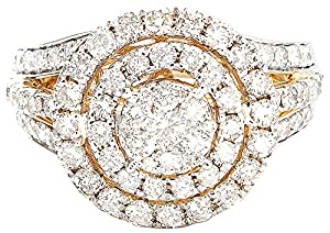 2.00CTW Round Diamond (H-1 color , I1 - I2 Clarity) Fashion Halo Ring In 14K Yellow Gold.