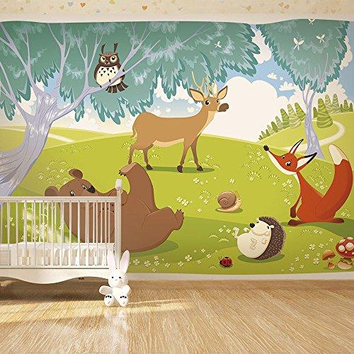 ... Wand für Kindertapete Kinderzimmer Kinder Wald Tiere e-A-0031-a-a