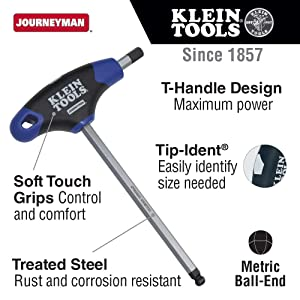 Hex Key Kit with Stand, Ball End T-Handle, 6-Inch Metric, 8-Piece Klein Tools JTH68MB (Tamaño: 8-Piece)