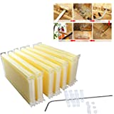 7Pcs Auto Flow Comb Beehive Frames Kit Raw Frame Honey Beekeeping Beehive Hive Frames Harvesting With 7 Harvest Tubes and a Harvest Key for Beekeepers