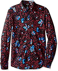 Just Cavalli Men's Leopard Print Pointed Collar Button Down Shirt, True Red, 52
