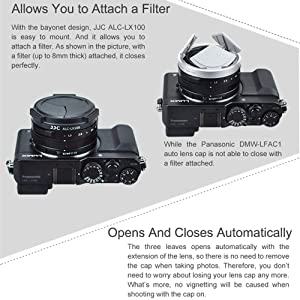 JJC Auto Open and Close Lens Cap Protector for Panasonic Lumix LX100 II (DC-LX100M2) DMC-LX100 Leica D-LUX (Typ 109), Replaces Panasonic DMW-LFAC1K Automatic Lens Cap, Fits Filter Thickness Below 8mm