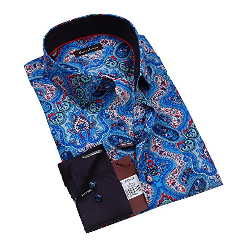 Giannia Lorenzo Mens Blue and Red Paisley Dress Shirt (XX-Large)
