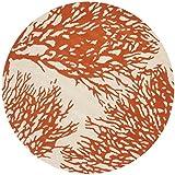 Safavieh Bella Collection BEL115B Handmade Wool Round Area Rug, 5-Feet, Beige and Terracotta