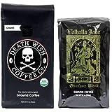 Death Wish & Valhalla Java Ground Coffee Bundle Deal, USDA Certified Organic & Fair Trade (1 of Each Bag) (Tamaño: Ground)