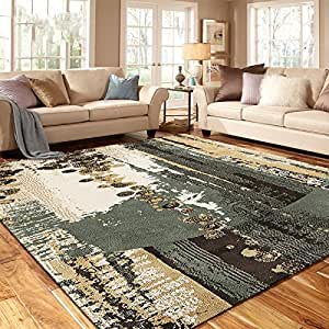Ustide green living room area rug abstract for Living room rugs amazon