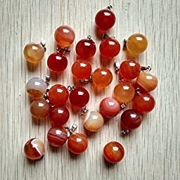 Fashion Natural Red Agate Round Ball Shpae Charms Pendants 50Pcs/Lot