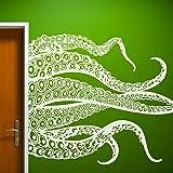 GECKOO Kraken Octopus Decal Fashion Tentacles Wall Decal Ocean Animal Wall Sticker (Medium,White)