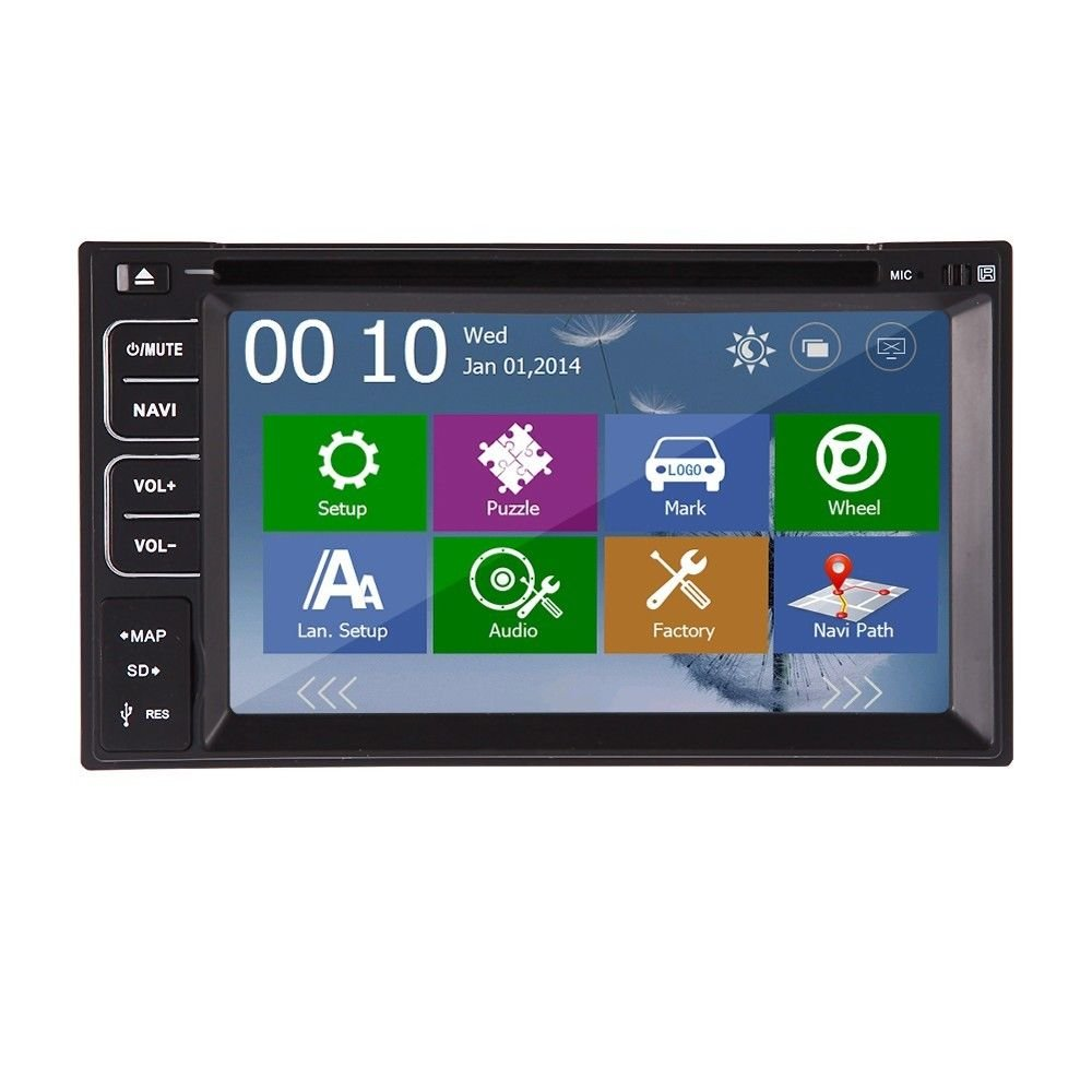 Amazon.com : Rear Camera Included 2014 New Model 6.2-Inch Double-2 DIN In Dash Car DVD Player Touch screen LCD Monitor with DVD/CD/MP3/MP4/USB/SD/AM/FM/RDS Radio/Bluetooth/Stereo/Audio and GPS Navigation SAT NAV Wall Paper exchange HD:800*480 LCD+Windows Win 8 UI Design Free GPS Antenna+Free GPS Map