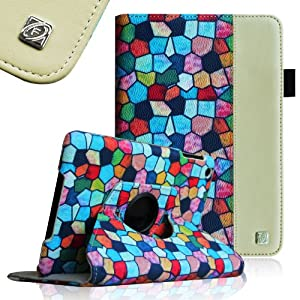 Fintie Stained Glass Mosaic-Style 360 Degrees Rotating Stand Vegan Leather Case Cover with Automatic Sleep/Wake Feature for Apple iPad Mini 7.9 inch Tablet - White