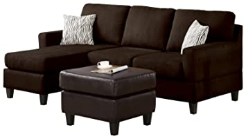 ACME Vogue Reversible Sectional Chaise, Chocolate Microfiber