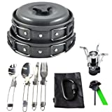 Gold Armour 17Pcs Camping Cookware Mess Kit Backpacking Gear & Hiking Outdoors Bug Out Bag Cooking Equipment Cookset | Lightweight, Compact, Durable Pot Pan Bowls (Black)