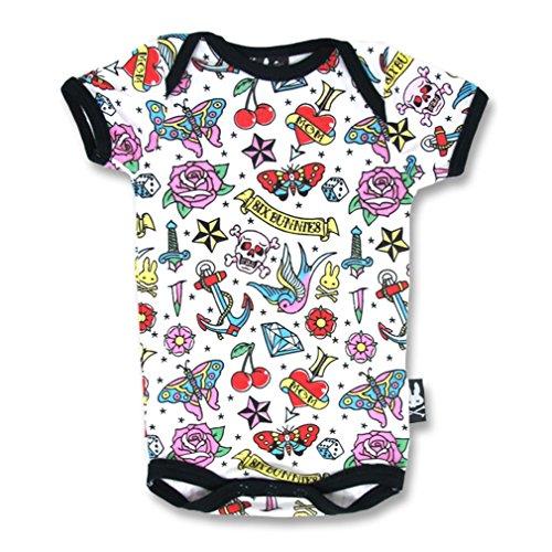 SIX Bunnies Baby body Old School Tattoo Print-Cute Flash Maglietta pagliaccetto Bianco multicolore 3-6 Mesi