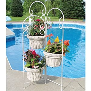 Tierra Garden 33735 White Rattan 35-Inch High Three Pot Planter, White