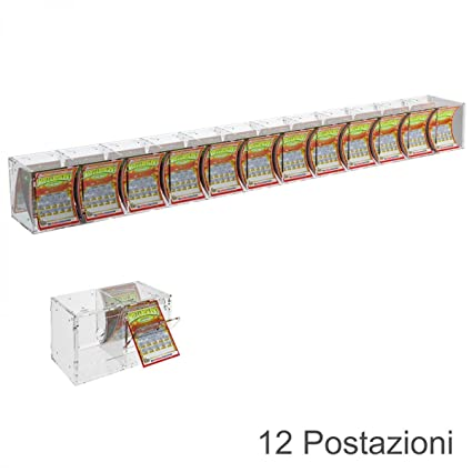 Clear acrylic scratch card holder with 12 compartments and a small door facing the seller - Countertop holder or for attachment to ceiling