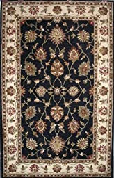 Area Rug, Black/Ivory Traditional Bordered Soft Wool Carpet, 8-Foot X 11-Foot