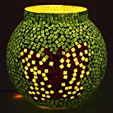 EarthenMetal Handcrafted Pot Shaped Butterfly Design Mosaic Table Glass Lamp