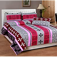 Soni Traders Pink Abstract Design Pure Cotton Double Bedsheet With Pillow Cover- Bedsheet- 90 Inches X 90 Inches...