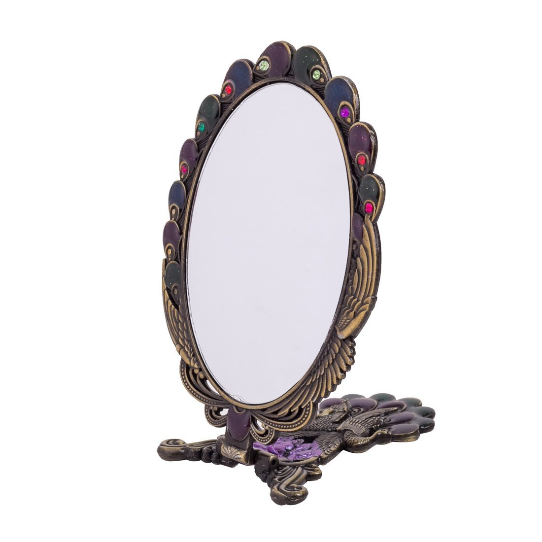 MOIOM Vintage Style Metal Foldable Oval Peacock Flower Pattern Makeup Hand/Table Mirror (Bronze) 2