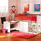 Loft Bed with Desk Workspace and Storage Cabinets Drawers Wood White Twin-size