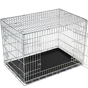 caisse pliable de transport pour chien fer et plastique taille xl animalerie. Black Bedroom Furniture Sets. Home Design Ideas