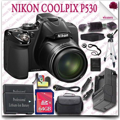 "Nikon Coolpix P530 Cmos Digital Camera (Black) + 64Gb Sdhc Class 10 Card + Hdmi Cable + Slr Gadget Bag + 50"" Tripod + Neoprene Neck Strap 15Pc Nikon Saver Bundle"
